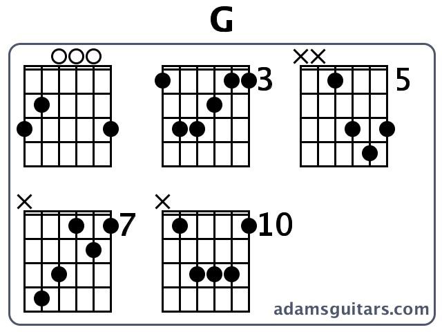 G Guitar Chords from adamsguitars.com