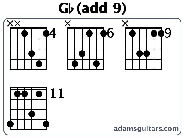 Gb(add 9) Guitar Chords from adamsguitars.com