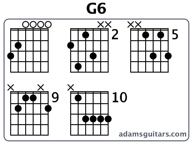 G6 Guitar Chords from adamsguitars.com