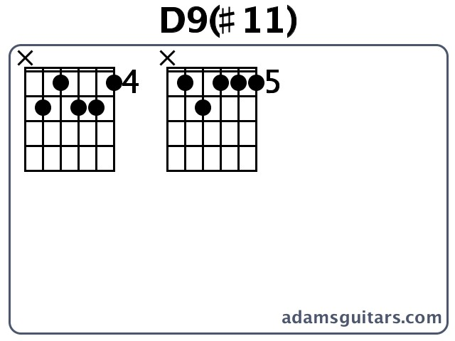 D9(#11) Guitar Chords from adamsguitars.com