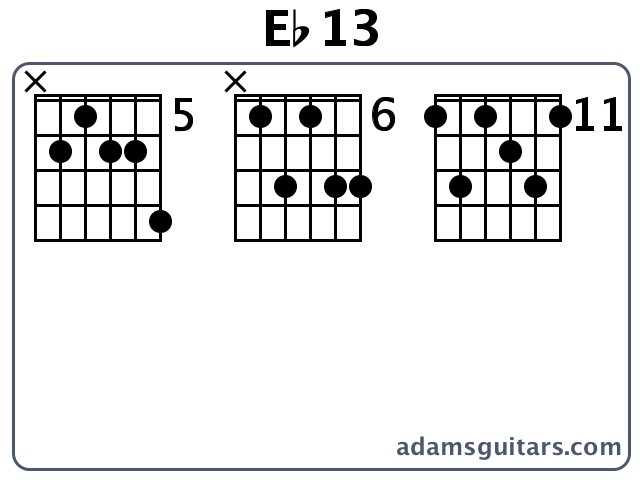 Guitar guitar chords eb : Eb13 Guitar Chords from adamsguitars.com