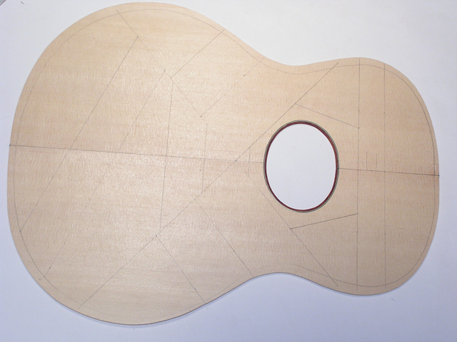 Adams Guitars SJ004 Layout of the Top Braces